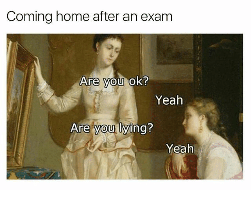 Yeah, Home, and Classical Art: Coming home after an exam  Are vou ok?  Yeah  Are vou lving?  0  Yeah