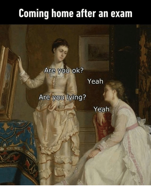 Yeah, Home, and Classical Art: Coming home after an exam  Are you ok?  Yeah  Are you lying?  Yeah
