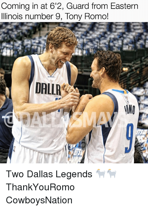 romos: Coming in at 6'2, Guard from Eastern  Illinois number 9, Tony Romo!  DALLA Two Dallas Legends 🐐🐐 ThankYouRomo CowboysNation ✭