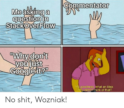 "Commentator: Commentator  Me asking a  question in  StackOverFlow  ""Why don't  youjust  Googleit?""  My goodness, what an idea.  Why didn't I think of that? No shit, Wozniak!"