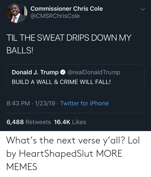 Build A Wall: Commissioner Chris Cole  @CMSRChrisCole  TIL THE SWEAT DRIPS DOWN MY  BALLS!  Donald J. Trump @realDonaldTrump  BUILD A WALL & CRIME WILL FALL!  8:43 PM .1/23/19 Twitter for iPhone  6,488 Retweets 16.4K Likes What's the next verse y'all? Lol by HeartShapedSlut MORE MEMES