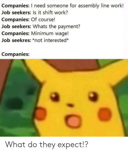 """Minimum Wage: Companies: I need someone for assembly line work!  Job seekers: Is it shift work?  Companies: Of course!  Job seekers: Whats the payment?  Companies: Minimum wage!  Job seekres: """"not interested*  Companies: What do they expect!?"""