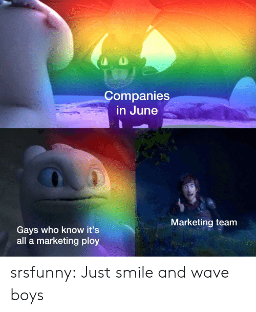 ploy: Companies  in June  Marketing team  Gays who know it's  all a marketing ploy srsfunny:  Just smile and wave boys