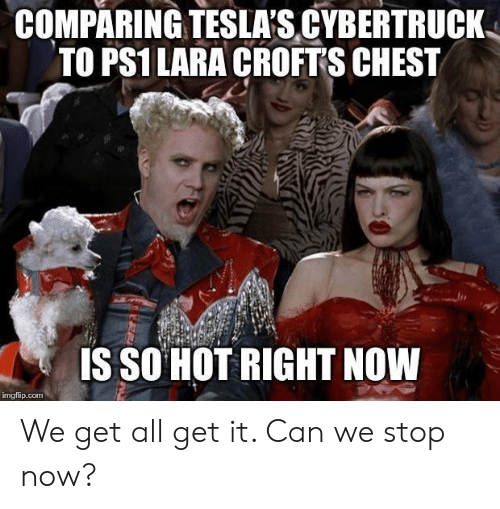 Comparing Tesla S Cybertruck To Ps1 Lara Croft S Chest Is So