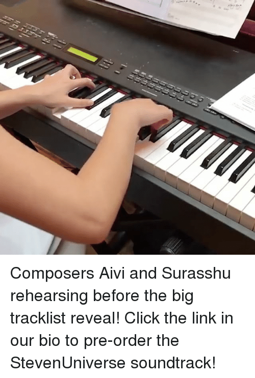 Click, Memes, and Link: Composers Aivi and Surasshu rehearsing before the big tracklist reveal! Click the link in our bio to pre-order the StevenUniverse soundtrack!