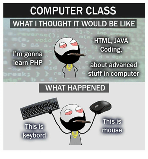 acs: COMPUTER CLASS  WHAT I THOUGHT IT WOULD BE LIKE  HTML, JAVA  Coding,  about advanced  stuff in computer  ac  I'm gonna  learn PHP  eak:  3  a d  re  WHAT HAPPENED  This is  keybord  This is  mouse