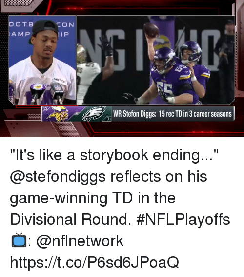 """Memes, Game, and 🤖: CON  veri  WR Stefon Diggs: 15 rec TD in 3 career seasons """"It's like a storybook ending...""""  @stefondiggs reflects on his game-winning TD in the Divisional Round. #NFLPlayoffs  📺: @nflnetwork https://t.co/P6sd6JPoaQ"""