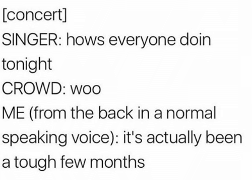 Voice, Girl Memes, and Tough: [concert]  SINGER: hows everyone doin  tonight  CROWD: woo  ME (from the back in a normal  speaking voice): it's actually been  a tough few months