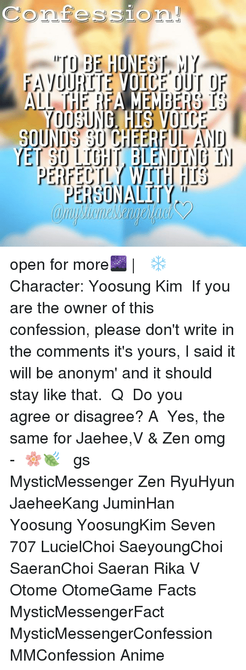 """otome: Confessio  """"TO BE HONEST, HY  AVOURITE VOICE OUT OF  ALL THE RFA MEMBERS IS  YE  PERFECTLY WITH HIS  PERSONALITY  ae open for more🌌 