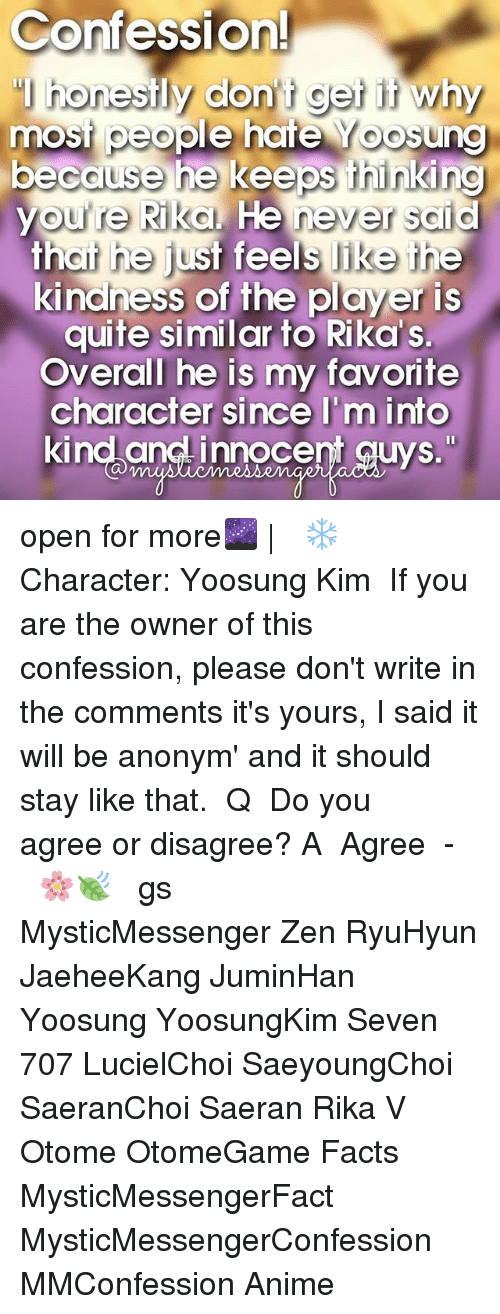 """otome: Confession!  honestly don t get it why  most people hate oosung  because he keeps thinking  youre Rika. He never said  that he just feels like the  kindness of the player is  quite similar to Rika s.  Overall he is my favorite  character since I'm into  kind and innocent guys."""" open for more🌌 