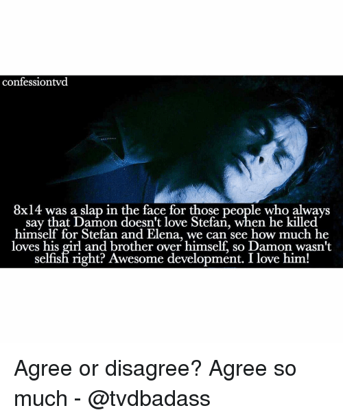Memes, Selfishness, and 🤖: confession vd  8x14 was a slap in the face for those people who always  say that Damon doesn't love Stefan, when he killed  himself for Stefan and Elena, we can see how much he  loves his girl and brother over himself, so Damon wasn't  selfish right? Awesome development. I love him! Agree or disagree? Agree so much - @tvdbadass
