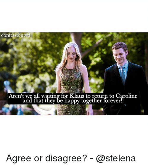 Memes, Forever, and Happy: confessiontyd  Aren't we all waiting for Klaus to return to Caroline  and that they Be happy together forever!! Agree or disagree? - @stelena