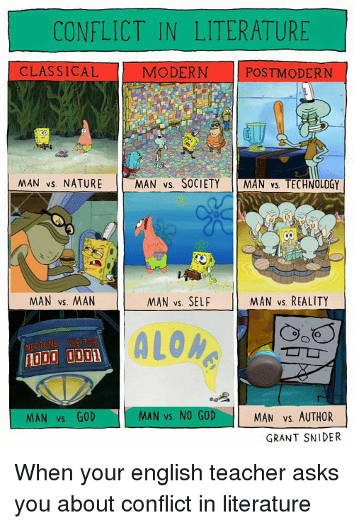 Vs Reality: CONFLICT IN LITERATURE  CLASSICAL  MODERN POSTMODERN  NAN vs. NATURE  MAN vs. SOCIETY MAN vs. TECHNOLOGY  MAN vs. MAN  MAN vs. SELF  MAN vs. REALITY  ALOM  MAN vs. GOD  MAN vs. NO GOD  MAN Vs. AUTHOR  GRANT SNIDER When your english teacher asks you about conflict in literature
