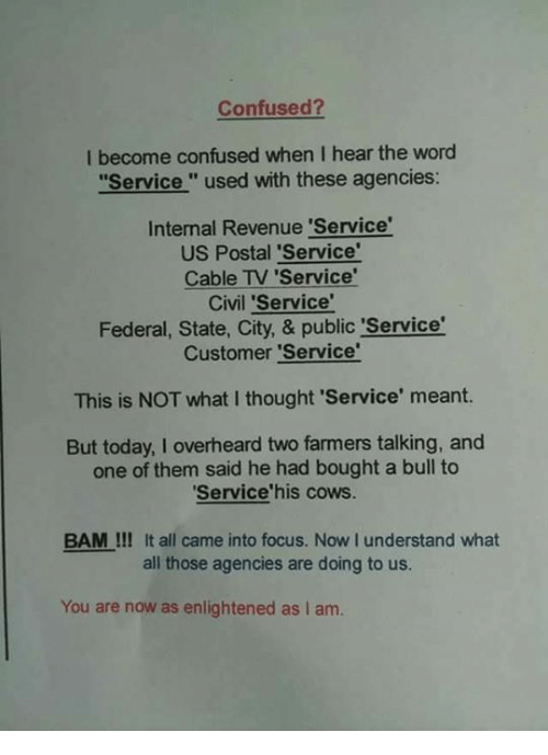 "Confused, Memes, and Focus: Confused?  I become confused when I hear the word  ""Service "" used with these agencies:  Intemal Revenue 'Service  US Postal 'Service'  Cable TV Service'  Civil 'Service'  Federal, State, City, & public 'Service  Customer 'Service'  This is NOT what I thought 'Service' meant.  But today, I overheard two farmers talking, and  one of them said he had bought a bull to  Service'his cows.  BAM !!! It all came into focus. Now I understand what  all those agencies are doing to us.  You are now as enlightened as I am."