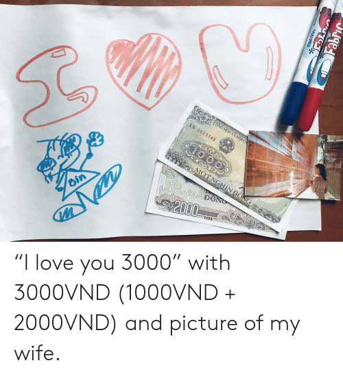 """Picture Of My Wife: CONG HOA XA HOr CH  LS 0629745  100  MOTNGHIN DONG  l  8861  nĐÔNG  2000  Oin  1888  W  MARVY  Fabric """"I love you 3000"""" with 3000VND (1000VND + 2000VND) and picture of my wife."""
