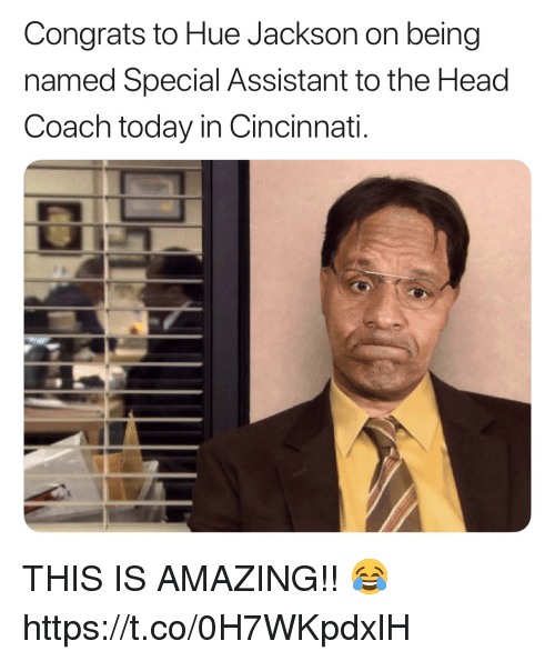 Cincinnati: Congrats to Hue Jackson on being  named Special Assistant to the Head  Coach today in Cincinnati. THIS IS AMAZING!! 😂 https://t.co/0H7WKpdxlH