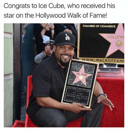 Ice Cube, Memes, and Star: Congrats to Ice Cube, who received his  star on the Hollywood Walk of Fame!  CHAMBER OF COMMERCE  HOLLY W  WWW. WALKOFFAM  ICE CUBE  CE CUBE  WAUN OF FAME