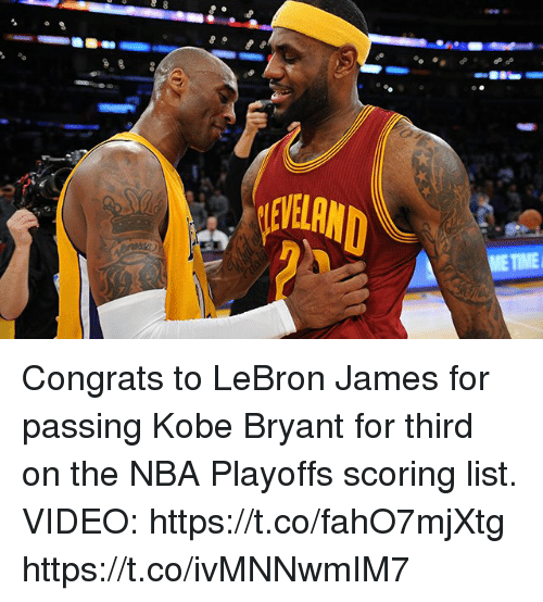 Congrats To LeBron James For Passing Kobe Bryant For Third