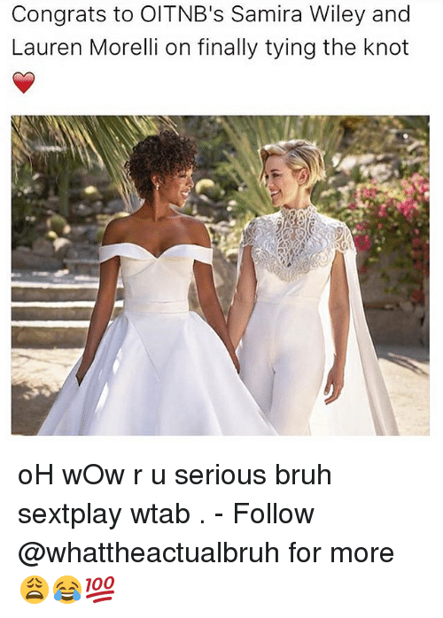 Knotting: Congrats to OITNB's Samira Wiley and  Lauren Morelli on finally tying the knot oH wOw r u serious bruh sextplay wtab . - Follow @whattheactualbruh for more😩😂💯