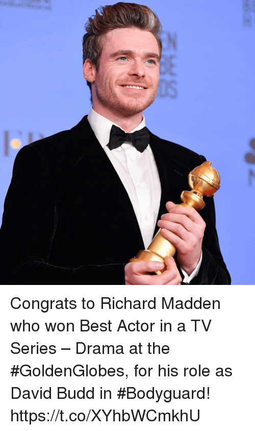 Best Actor: Congrats to Richard Madden who won Best Actor in a TV Series – Drama at the #GoldenGlobes, for his role as David Budd in #Bodyguard! https://t.co/XYhbWCmkhU