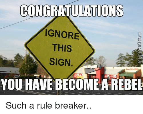 Memes, Congratulations, and 🤖: CONGRATULATIONS  IGNORE  THIS  SIGN.  YOU HAVE BECOME A REBEL Such a rule breaker..