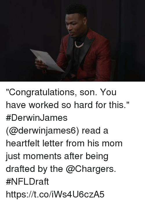 "Memes, Chargers, and Congratulations: ""Congratulations, son. You have worked so hard for this.""  #DerwinJames (@derwinjames6) read a heartfelt letter from his mom just moments after being drafted by the @Chargers. #NFLDraft https://t.co/iWs4U6czA5"