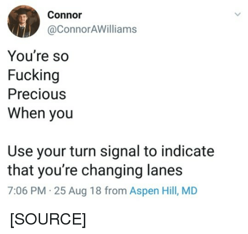 Aspen: Connor  @ConnorAWilliams  You're so  Fucking  Precious  When you  Use your turn signal to indicate  that you're changing lanes  7:06 PM 25 Aug 18 from Aspen Hill, MD [SOURCE]