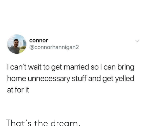 connor: connor  @connorhannigan2  I can't wait to get married so I can bring  home unnecessary stuff and get yelled  at for it That's the dream.