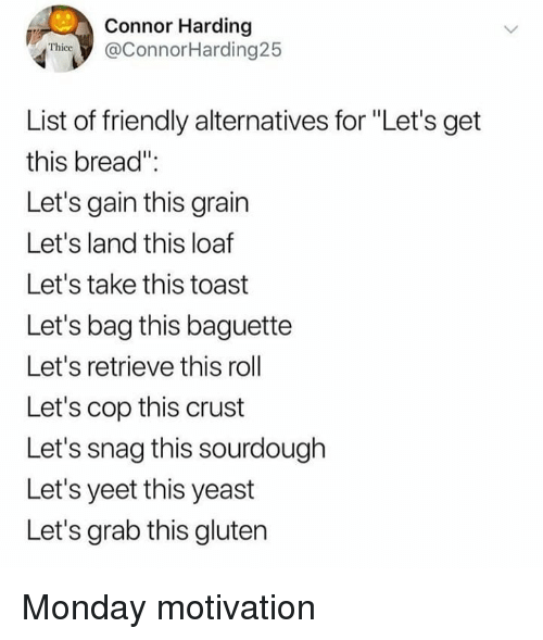 """snag: Connor Harding  @ConnorHarding25  Thice  List of friendly alternatives for """"Let's get  this bread""""  Let's gain this grain  Let's land this loaf  Let's take this toast  Let's bag this baguette  Let's retrieve this roll  Let's cop this crust  Let's snag this sourdough  Let's yeet this yeast  Let's grab this gluten Monday motivation"""