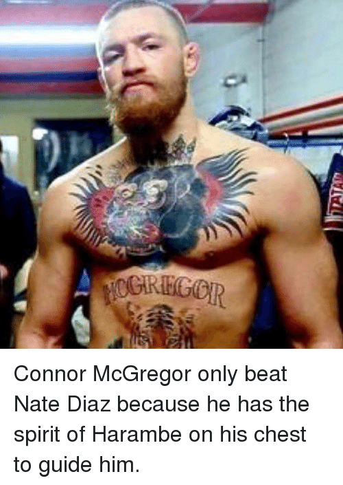 Nate Diaz: Connor McGregor only beat Nate Diaz because he has the spirit of Harambe on his chest to guide him.