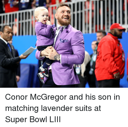mcgregor: Conor McGregor and his son in matching lavender suits at Super Bowl LIII