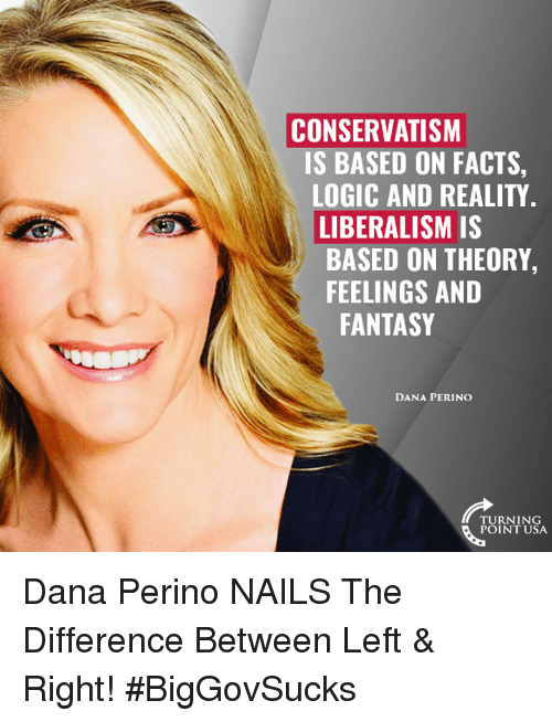 Liberalism: CONSERVATISM  IS BASED ON FACTS,  LOGIC AND REALITY  LIBERALISM IS  BASED ON THEORY,  FEELINGS AND  FANTASY  DANA PERINO  TURNING  POINT USA Dana Perino NAILS The Difference Between Left & Right! #BigGovSucks