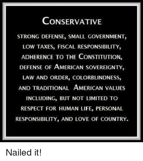 Personal Responsibility: CONSERVATIVE  STRONG DEFENSE, SMALL GOVERNMENT,  LOW TAXES, FISCAL RESPONSIBILITY,  ADHERENCE TO THE CONSTITUTION,  DEFENSE OF AMERICAN SovEREIGNTY,  LAW AND ORDER, COLORBLINDNESS,  AND TRADITIONAL AMERICAN VALUES  INCLUDING, BUT NOT LIMITED TO  RESPECT FOR HUMAN LIFE, PERSONAL  RESPONSIBILITY, AND LOVE OF COUNTRY. Nailed it!