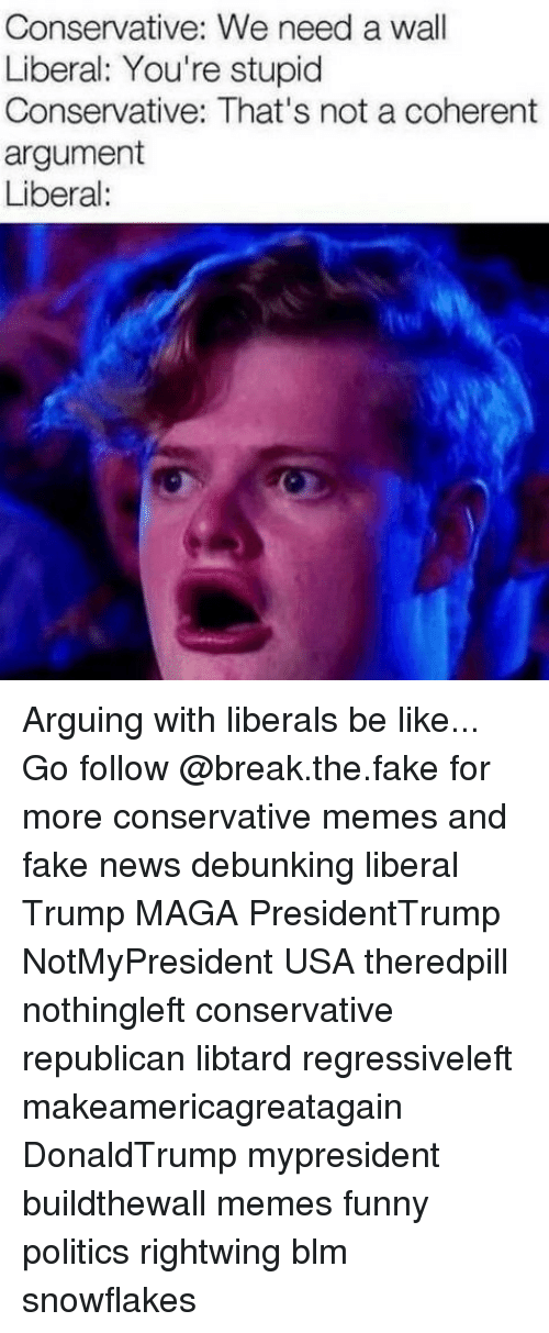 Stupid Conservative: Conservative: We need a wall  Liberal: You're stupid  Conservative: That's not a coherent  argument  Liberal: Arguing with liberals be like... Go follow @break.the.fake for more conservative memes and fake news debunking liberal Trump MAGA PresidentTrump NotMyPresident USA theredpill nothingleft conservative republican libtard regressiveleft makeamericagreatagain DonaldTrump mypresident buildthewall memes funny politics rightwing blm snowflakes