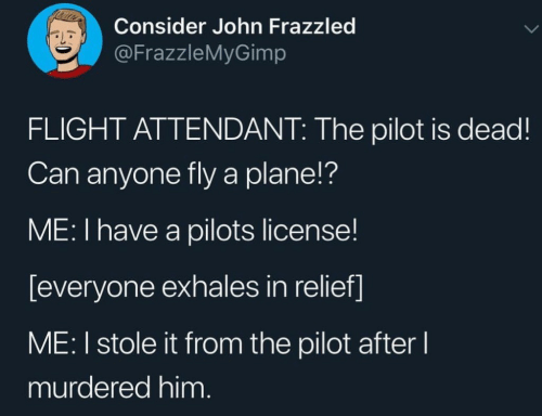 Flights: Consider John Frazzled  @FrazzleMyGimp  FLIGHT ATTENDANT: The pilot is dead!  Can anyone fly a plane!?  ME: I have a pilots license!  [everyone exhales in relief]  ME: I stole it from the pilot after l  murdered him