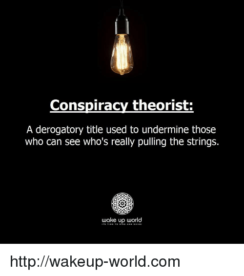 Rise And Shine: Conspiracy theorist  A derogatory title used to undermine those  who can see who's really pulling the strings.  wake up world  TS TINE TO RISE AND SHINE http://wakeup-world.com