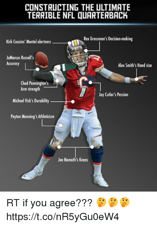NFL: CONSTRUCTING THE ULTIMATE  TERRIBLE NFL QUARTERBACK  Rex Grossman's Decision-making  Kirk Cousins' Mental alertness  JaMarcus Russell's  Accuracy  Alex Smith's Hand size  Chad Pennington's  Arm strength  Michael Vick's Durability  Peyton Manning's Athleticism  Jay Cutler's Passion  Joe Namath's Knees RT if you agree??? 🤔🤔🤔 https://t.co/nR5yGu0eW4