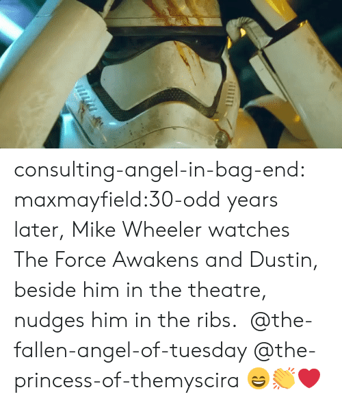 bag end: consulting-angel-in-bag-end:  maxmayfield:30-odd years later, Mike Wheeler watches The Force Awakens and Dustin, beside him in the theatre, nudges him in the ribs.  @the-fallen-angel-of-tuesday @the-princess-of-themyscira 😄👏❤