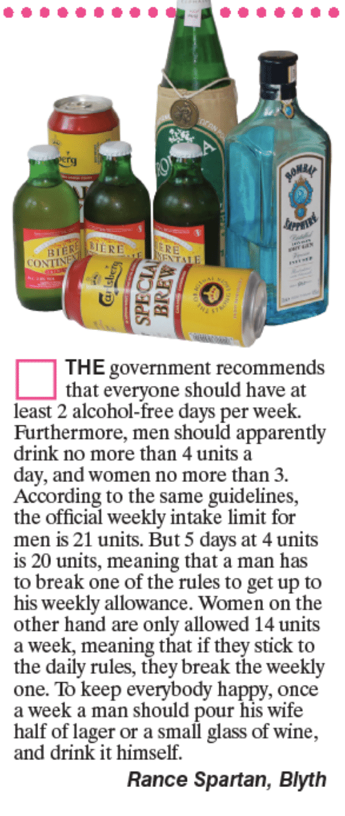 spartans: CONT  THE government recommends  that everyone should have at  least 2 alcohol-free days per week.  Furthermore, men should apparently  drink no more than 4 units a  day, and women no more than 3.  According to the same guidelines,  the official weekly intake limit for  men is 21 units. But 5 days at 4 units  is 20 units, meaning that a man has  to break one of the rules to get up to  his weekly allowance. Women on the  other hand are only allowed 14 units  a week, meaning that if they stick to  the daily rules, they break the weekly  one. To keep everybody happy, once  a week a man should pour his wife  half of lager or a small glass of wine,  and drink it himself.  Rance Spartan, Blyth