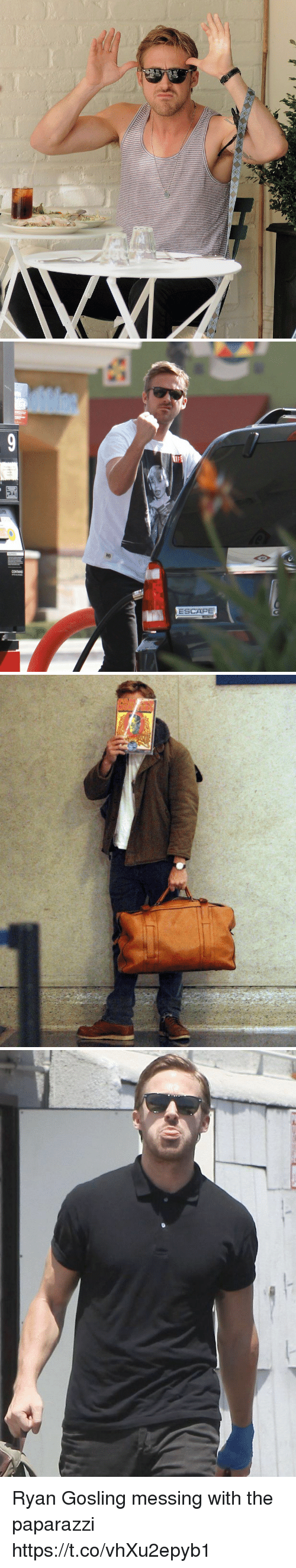 Ryan Gosling, Girl Memes, and Paparazzi: CONTAINS  ESCAPE Ryan Gosling messing with the paparazzi https://t.co/vhXu2epyb1