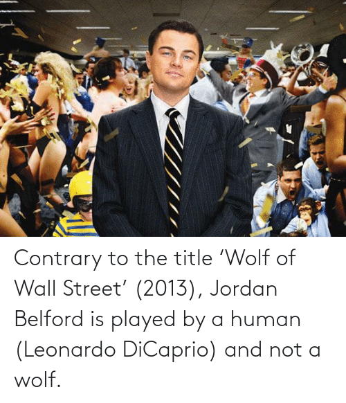 wall: Contrary to the title 'Wolf of Wall Street' (2013), Jordan Belford is played by a human (Leonardo DiCaprio) and not a wolf.