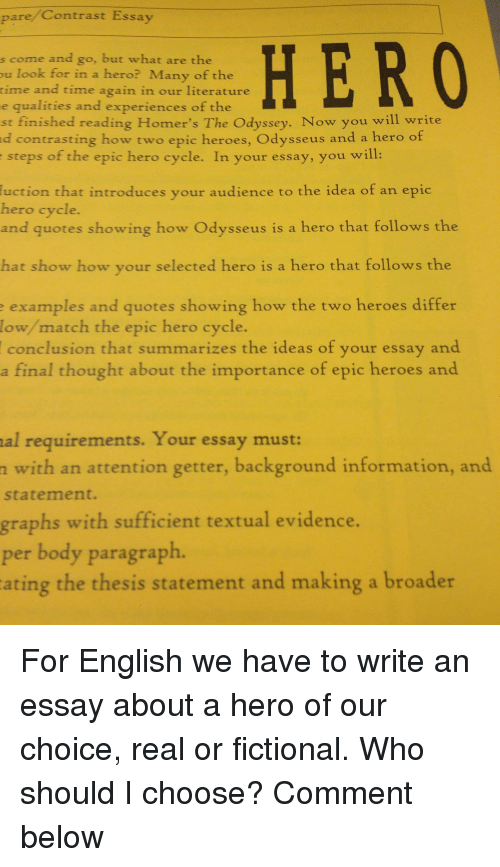 how to write an essay about your hero How to write a hero essay assignment beowulf spark - top reliable and professional academic writing service stop receiving unsatisfactory marks with these custom research paper recommendations craft a timed custom essay with our assistance and make your professors startled.