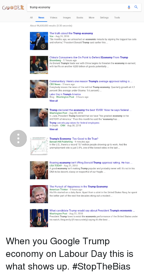 """Trump Approval Rating: COOGLE trump economy  News  Videos  mages  Books  More  Settings  Tools  About 96,600,000 results (0.30 seconds)  The truth about the Trump economy  Vox Aug 24, 2018  """"Six months ago, we unleashed an economic miracle by signing the biggest tax cuts  and reforms, President Donald Trump said earlier this ..  China's Consumers Are On Point to Defend Economy From Trump  Bloomberg - 17 hours ago  As Donald Trump's trade war with China begins to threaten the economy in earnest,  with tariffs on another $200 billion of goods potentially  TRUMP MAY GIVE NEW T  Commentary: Here's one reason Trump's average approval rating is .  CBS News-5 hours ago  Everybody knows the news of the red-hot Trump economy: Quarterly growth at 4.2  percent (the average under Obama: 1.6 percent)...  Labor Day in Trump's America  Blog - Washington Post 3 hours ago  View all  Trump declared the economy the best 'EVER. Now he says federal.  Washington Post - Aug 30, 2018  In June, President Trump tweeted that we have """"the greatest economy in the  HISTORY of America."""" Then this month he said the """"economy has...  Trump cancels pay raises for federal employees  In-Depth - CNN - Aug 30, 2018  View all  Trump's Economy: Too Good to Be True?  Banyan Hill Publishing - 9 minutes ago  In the U.S., there's a record 157 million people showing up to work. And the  unemployment rate is just 3.9%, one of the lowest rates in the last  Roaring economy isn't lifting Donald Trump approval rating. He has.  USA TODAY -Aug 31, 2018  A good economy isn't making Trump popular and probably never will. It's not in his  DNA to be decent, classy or respectful of our fragile  The Pursuit of Happiness in the Trump Economy  American Thinker - 9 hours ago  His life started on a dairy farm. Apart from a stint in the United States Navy, he spent  the better part of the next five decades eking out a modest.  What candidate Trump would say about President Trump's economic.  Washington Post - Aug 22, 2018  Presi"""