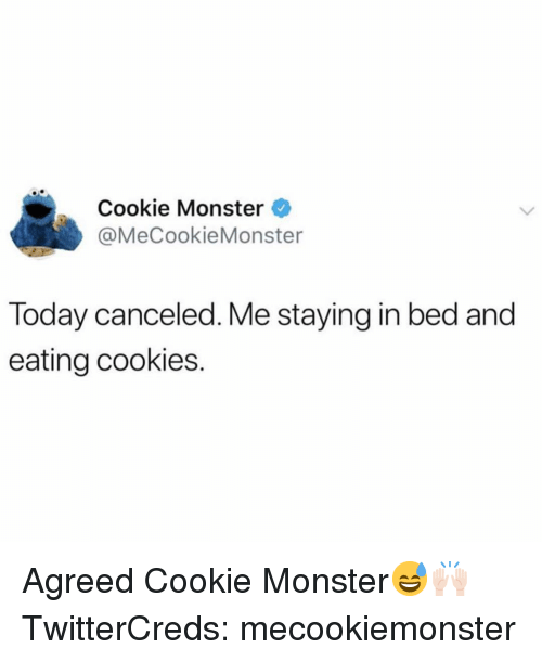 cookie monster: Cookie Monster  @MeCookieMonster  Today canceled. Me staying in bed and  eating cookies. Agreed Cookie Monster😅🙌🏻 TwitterCreds: mecookiemonster
