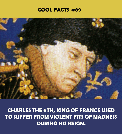 madness: COOL FACTS #89  CHARLES THE 6TH, KING OF FRANCE USED  TO SUFFER FROM VIOLENT FITS OF MADNESS  DURING HIS REIGN.