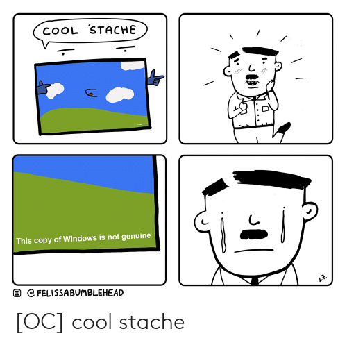 stache: COOL STACHE  This copy of Windows is not genuine  C CFELISSABUMBLEHEAD [OC] cool stache