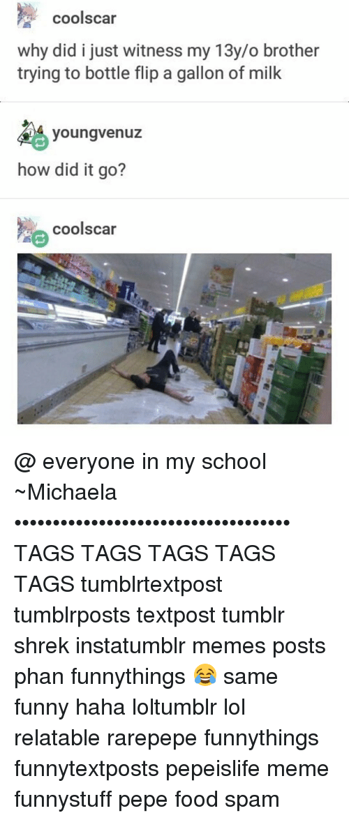 Memes, Shrek, and 🤖: coolscar  why did i just witness my 13y/o brother  trying to bottle flip a gallon of milk  youngVenuz  how did it go?  e coolscar @ everyone in my school ~Michaela •••••••••••••••••••••••••••••••••••• TAGS TAGS TAGS TAGS TAGS tumblrtextpost tumblrposts textpost tumblr shrek instatumblr memes posts phan funnythings 😂 same funny haha loltumblr lol relatable rarepepe funnythings funnytextposts pepeislife meme funnystuff pepe food spam