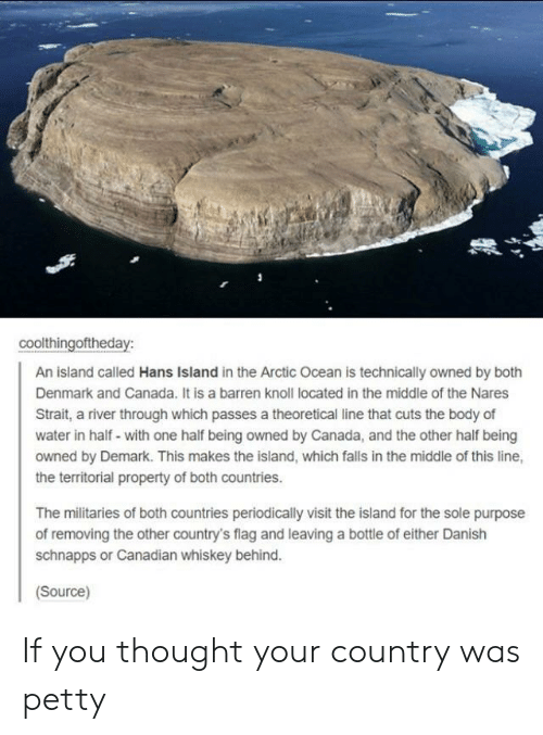 barren: coolthingoftheday:  An island called Hans Island in the Arctic Ocean is technically owned by both  Denmark and Canada. It is a barren knoll located in the middle of the Nares  Strait, a river through which passes a theoretical line that cuts the body of  water in half- with one half being owned by Canada, and the other half being  owned by Demark. This makes the island, which falls in the middle of this line,  the territorial property of both countries.  The militaries of both countries periodically visit the island for the sole purpose  of removing the other country's flag and leaving a bottle of either Danish  schnapps or Canadian whiskey behind.  Source) If you thought your country was petty