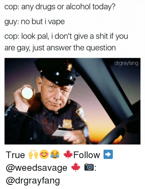 Memes, Vape, and Alcohol: cop: any drugs or alcohol today?  guy: no but i vape  cop: look pal, i don't give a shit if you  are gay, just answer the question  drgrayfang True 🙌😊😂 🍁Follow ➡ @weedsavage 🍁 📷: @drgrayfang