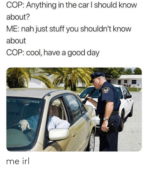 good day: COP: Anything in the car I should know  about?  ME: nah just stuff you shouldn't know  about  COP: cool, have a good day me irl